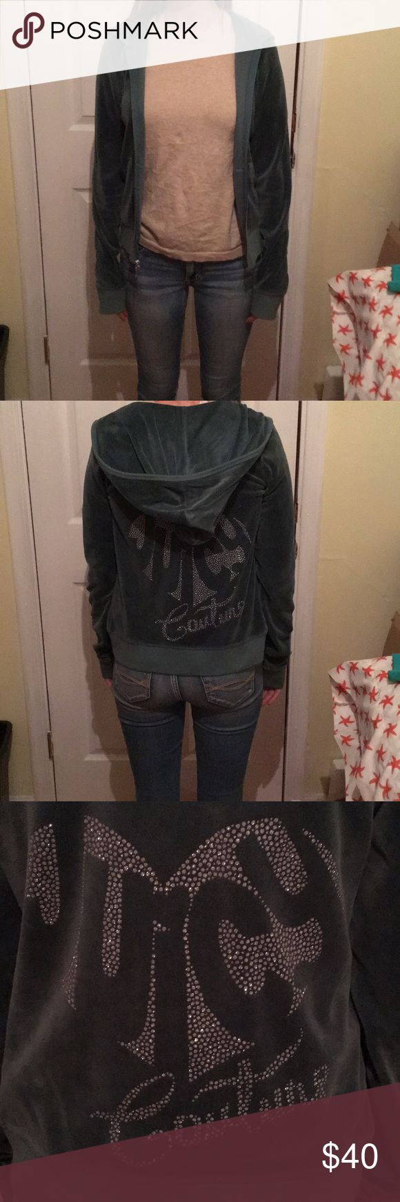 1 hour sale juicy couture jacket juicy couture dark green jacket with rhinestone back Juicy Couture Jackets & Coats