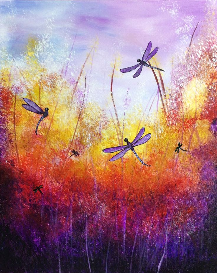 Dragonfly acrylic painting images for Pictures to draw on canvas