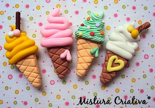 fimo ice cream cones. I think they'd be great magnets :)