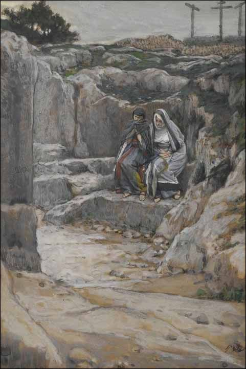 "Painting by James Jacques Tissot ""Mary Magdalene and the other Mary were sitting there opposite the tomb."" Matthew 27:61"