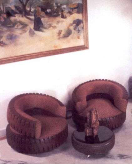 chairs and coffee table made of old tires