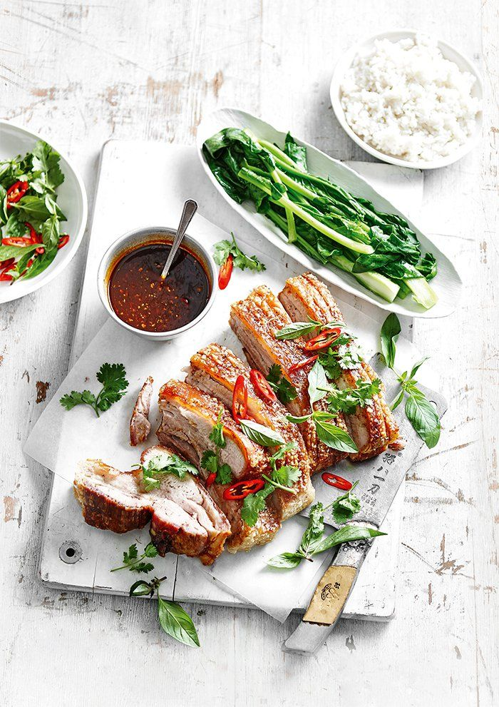 Irresistible crackling, sumptuous dipping sauce and gorgeously steamed veggies. This has to be the perfect mid-week Winter dish.