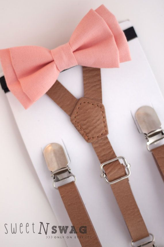 SUSPENDER & BOWTIE SET.  Newborn - Adult sizes. Light brown pu leather suspenders. Coral / peach bow tie.