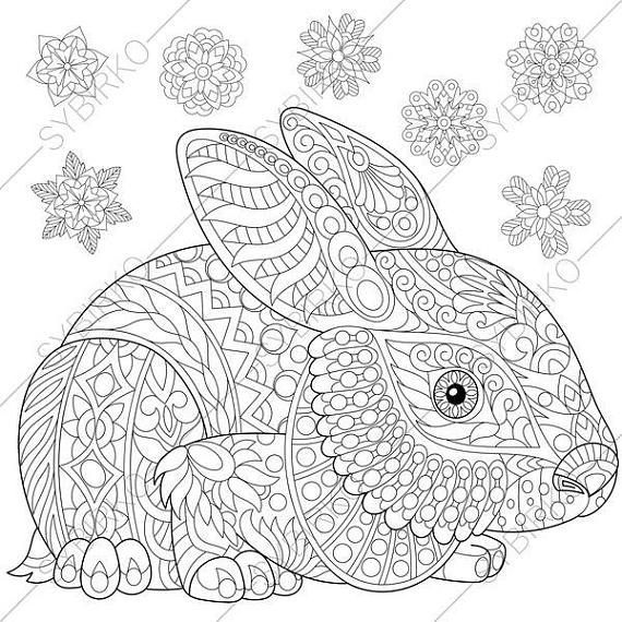 Coloring Pages For Adults Digital Coloring Page Bunny Etsy In 2020 Bunny Coloring Pages Easter Coloring Pages Animal Coloring Books