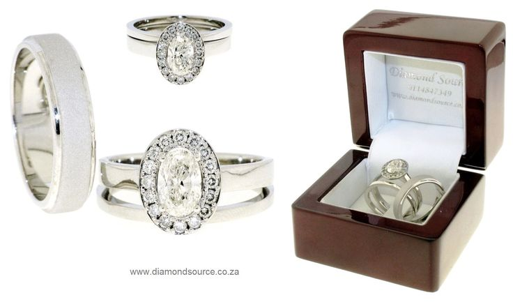 A recent commission featuring an 18ct. White Gold wedding set. His wedding band is crafted from 18ct. White Gold, 5mm wide with a sandblasted finish. Her set is set with a 1.00ct. Oval-cut diamond. Please email or call us with any queries. E: info@diamondsource.co.za W: www.diamondsource.co.za T: 011 484 7349