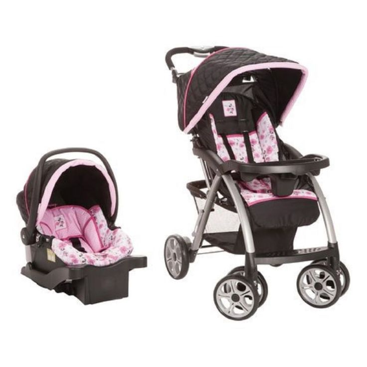 Disney Saunter Luxe Travel System, Floral Minnie · Rear-facing from a tiny 4 up to 22 pounds · Stroller accommodates child up to 50 pounds · Baby-f... #base #infant #baby #toddler #seat #stroller #saunter #travel #system #pram #disney