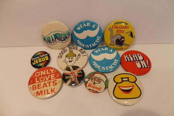 Lot of 20 Vintage Button Badges  Vintage Pins  by FunkieFrocks
