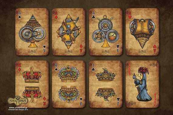Steamonks Playing Cards by UnderfootStuffWeLove on Etsy
