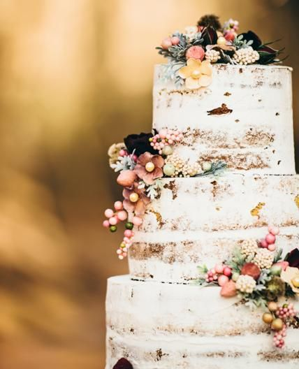Go Naked: 10 Gorgeous Unfrosted Wedding Cakes - Shabby Chic from #InStyle