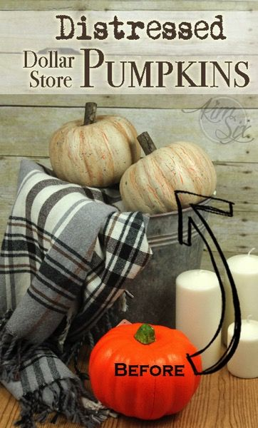 These are dollar store pumpkins!! Unbelievable! Distressed and aged with paint, the old orange styrofoam pumpkins are transformed into rustic distressed farmhouse style pumpkins!  Brilliant!