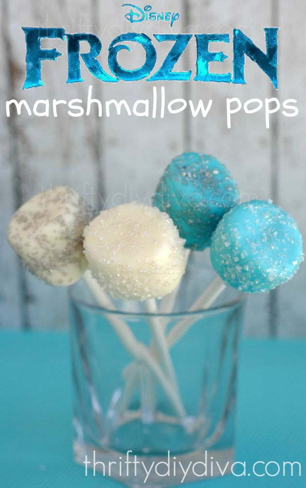 Disney #Frozen Marshmallow Pops http://thriftydiydiva.com/disney-frozen-recipes-fun-marshmallow-pops/ #recipes