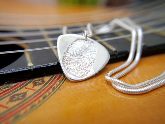 fingerprint jewellery guitar pick/ plectrum by LittleImpJewellery