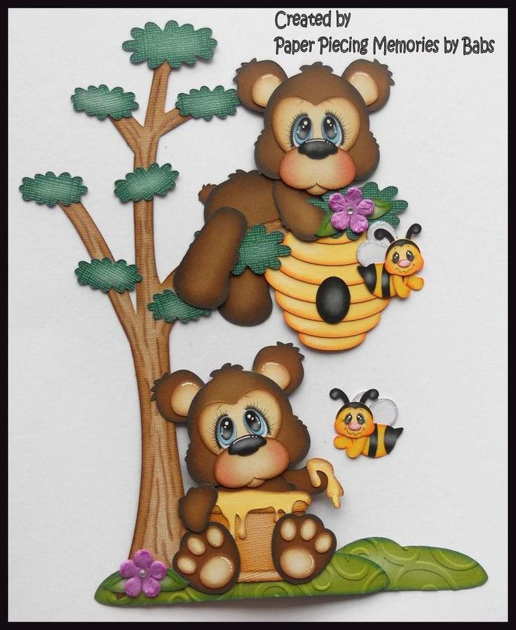 Honey Bear Set Premade Paper Piecing Die Cut for Scrapbook Page by Babs