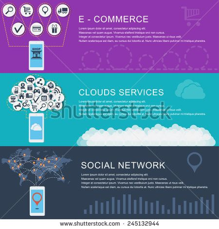 Global Social Network, clouds services, e-commerce. Flat design style modern vector illustration concept for web and infographic. Banners for websites.