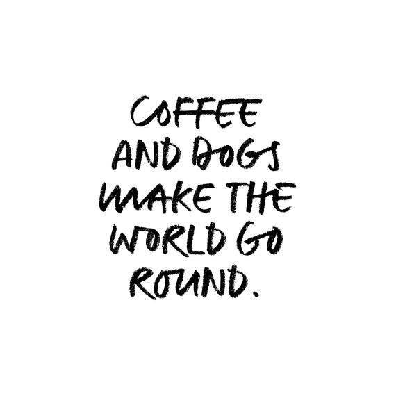 coffee and dogs make the world go round funny dog quote