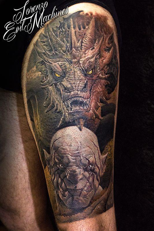 The Hobbit Smaug Azog Realistic Color Tattoo by Lorenzo Evil Machines, Roma - Italia