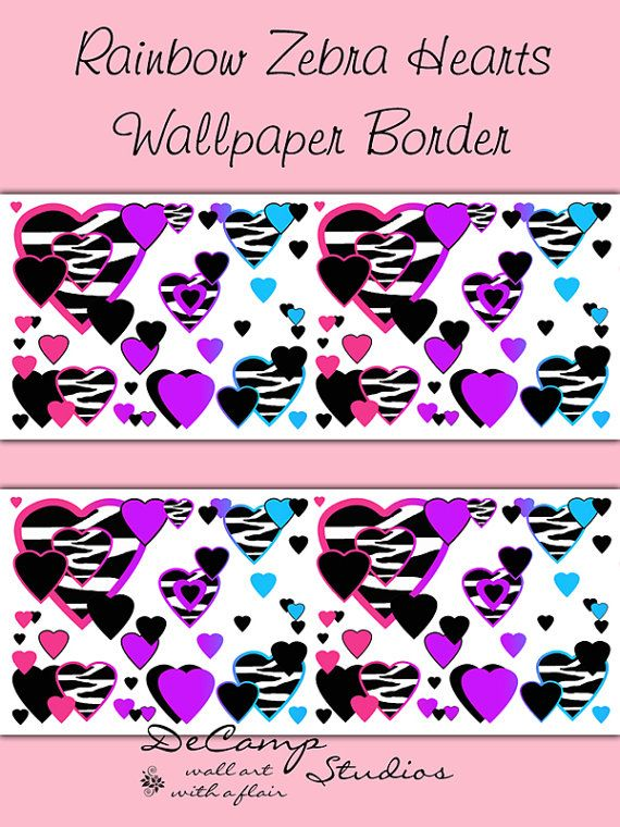 RAINBOW ZEBRA HEART Wallpaper Border Wall Art Decals