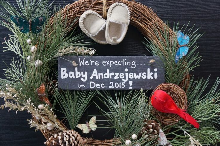 Christmas wreath announcement for a December baby.