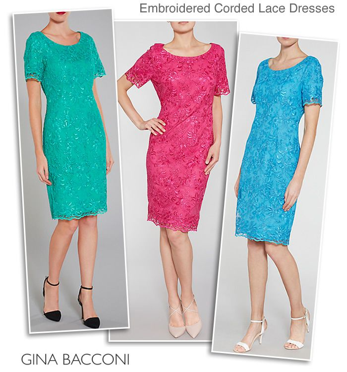 Gina Bacconi Green Pink Blue Lace Occasion Dresses