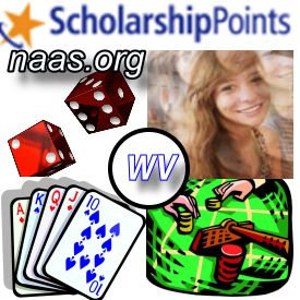 West Virginia Scholarship Points: Win at Scholarship Lotteries in WV. West Virginia students and adults are seeking West Virginia scholarship points for easy scholarship drawings, scholarship lotteries, and even cash scholarships.  http://www.naas.org/scholarship/financial-aid/scholarship-points/westvirginia-scholarship-points.php