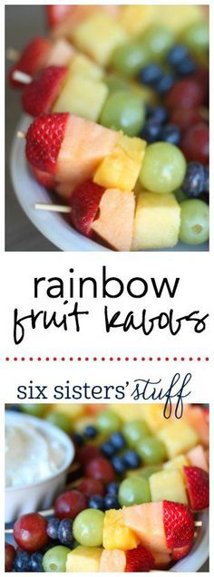 Rainbow Fruit Kabobs with Marshmallow Dip from SixSistersStuff.com | My kids loved helping me make these Rainbow Fruit Kabobs! They are such a fun, healthy snack!