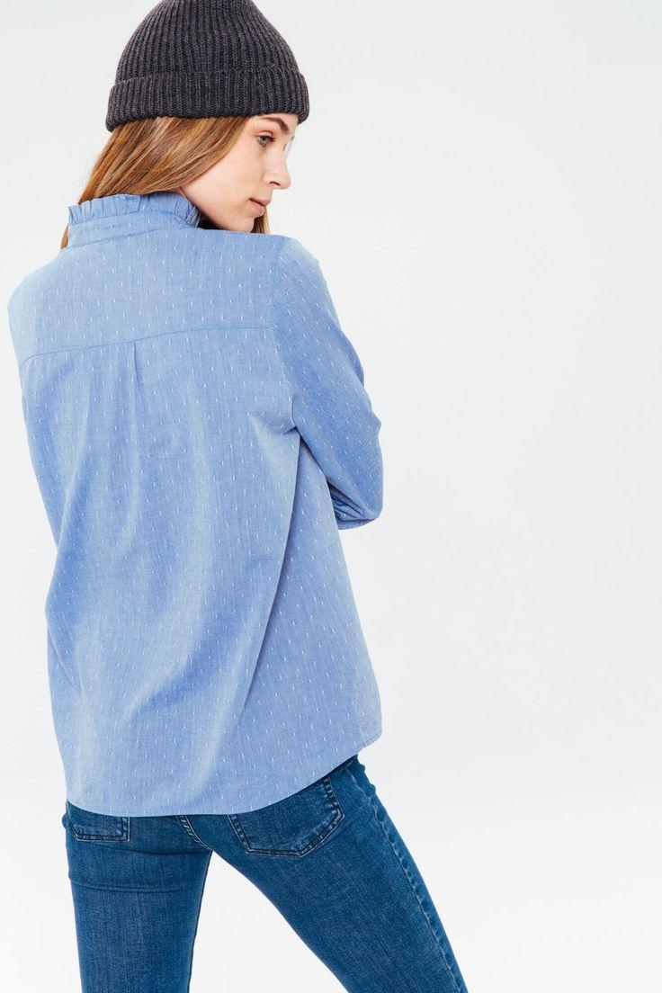Chemise bleue a motif, manche longue, fluide