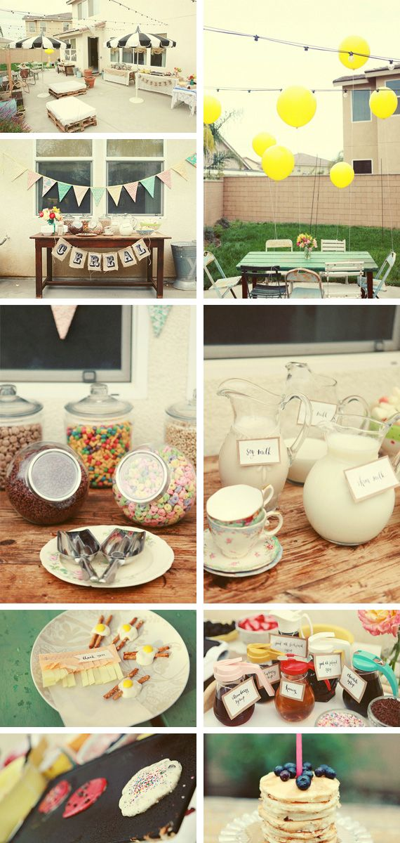 Breakfast partyBreakfast Parties Decor, Crafts Ideas, Brunches Decor Ideas, Beautiful Events, Birthday Breakfast Parties, Slumber Parties, Breakfast Birthday, Dinner Parties Ideas For Adult, Birthday Parties For Adult