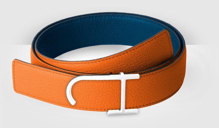 J.Hopenstand summer edition: bull calf orange and blue. JH buckle, palladium finish.