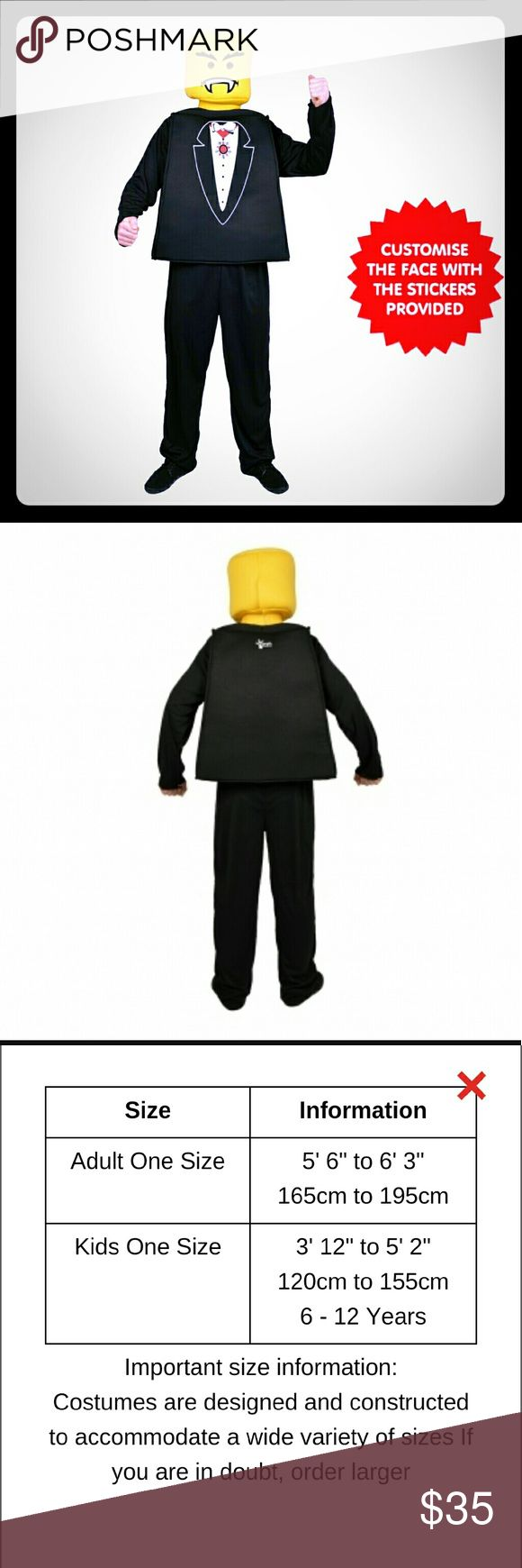 MR BLOCK HEAD VAMPIRE TUX COSTUME Complete three-piece costume: yellow foam headpiece with cut-out eyes, black foam top with printed gothic suit design, black pants/trousers. Use the three sets of stickers provided to customise the facial expressions so you're either a terror from Transylvania or a dapper hero. Endless anonymous fun makes it perfect for Halloween. Lego Shirts