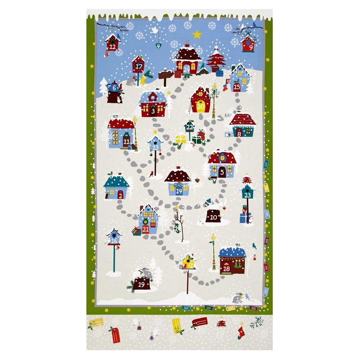 """Snow Village 25"""" Advent Calander Cream from @fabricdotcom  Designed by Stof Fabrics for Blank Quilting, designed in Denmark and printed in Japan, this cotton print fabric is perfect for quilting, apparel, and home decor accents. Colors include blue, white, grey, green, red, orange, and yellow. Panel measures 25"""" x 44""""."""