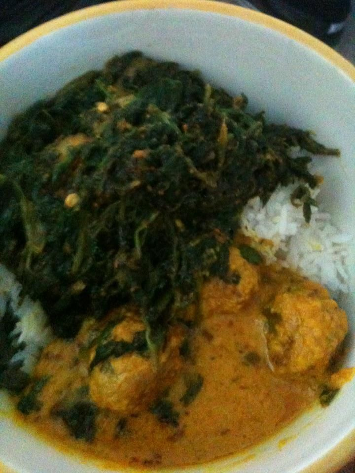 Kofte (meatball) curry in a yogurt based curry over rice with alu palak (potato with spinach). I could eat alu palak EVERY day!