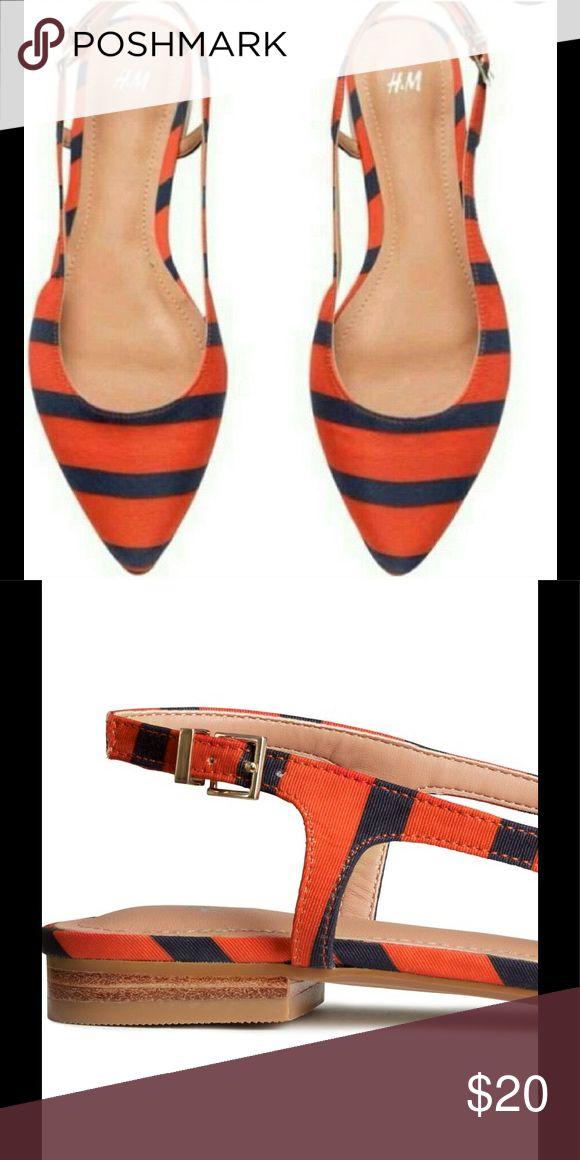 H&M Orange/Blue Stripes Slingback Flats  H&M Orange/Blue Stripes Slingback Flats The perfect flat Pristine condition  H&M Shoes Flats & Loafers