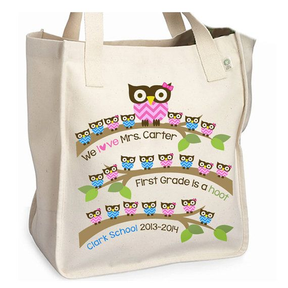 Teacher tote bag school hoot owl personalized by zoeysattic, $22.50