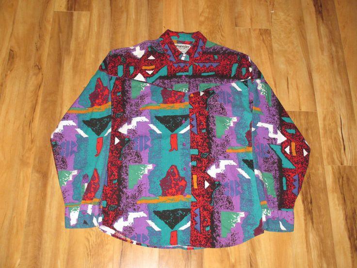 Vintage 1990s Wrangler Southwestern Tribal Neon Shirt #Wrangler #Western