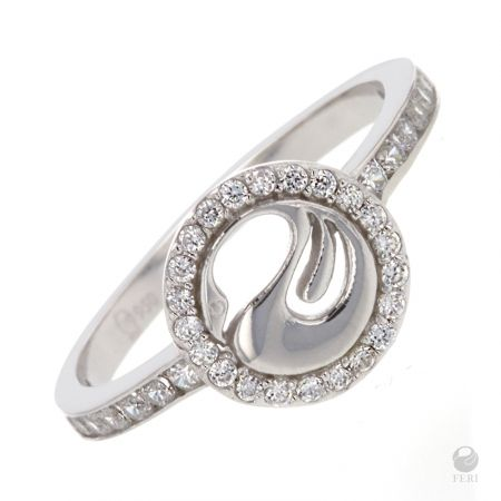 - Exclusive FERI 950 Siledium silver - Exclusive dual natural rhodium and palladium plating - Set with exclusive FERI Swan cut lab stones - Hypoallergenic  - Colour: Silver - Swan ring with channel set stones in the band - Embellished with a ring of clear stones   Invest with confidence in FERI Designer Lines.  Dimensions: Band width 0.3cm, swan 1cm