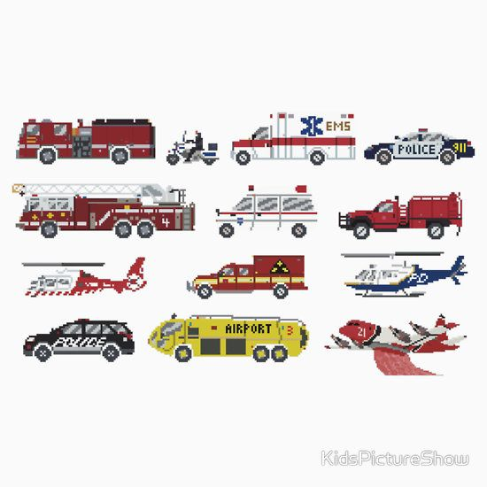 Emergency Vehicles - The Kids' Picture Show - 8-Bit