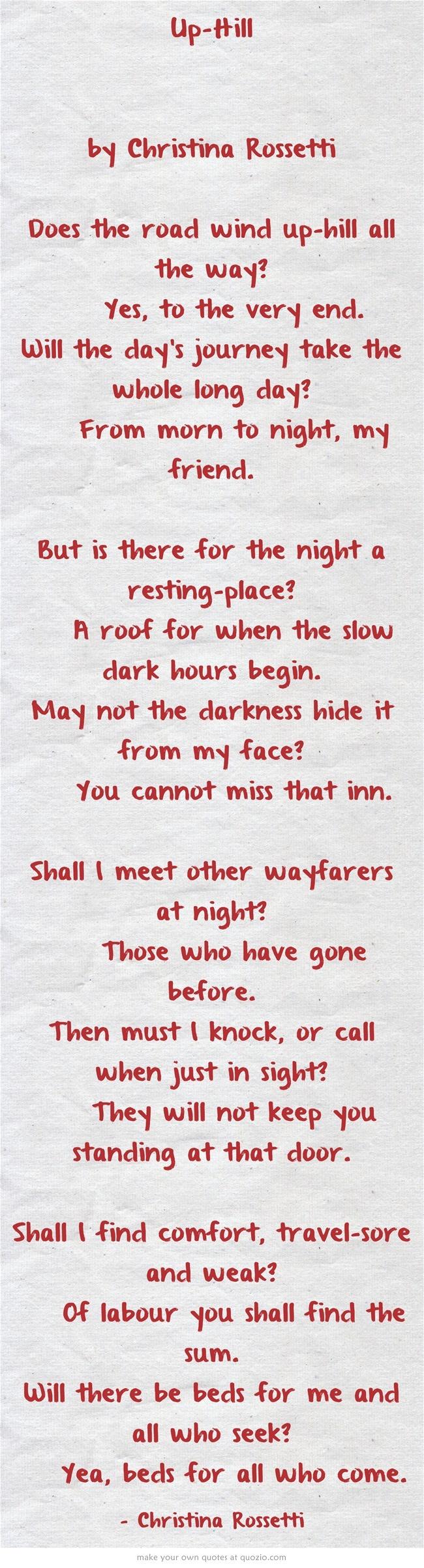 up hill poem