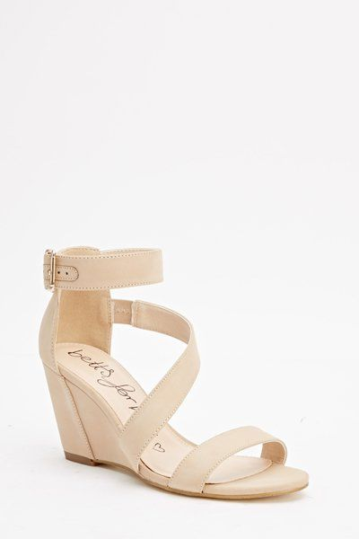 Strappy Nude Wedge Sandals