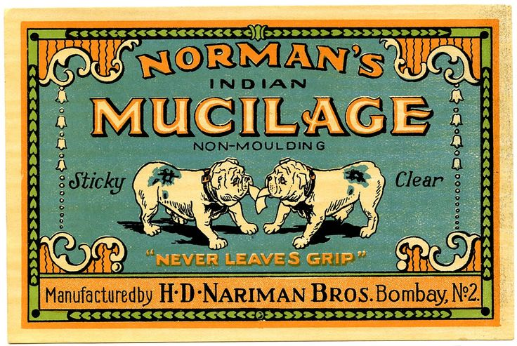 Mucilage Label. 1900s label for glue.