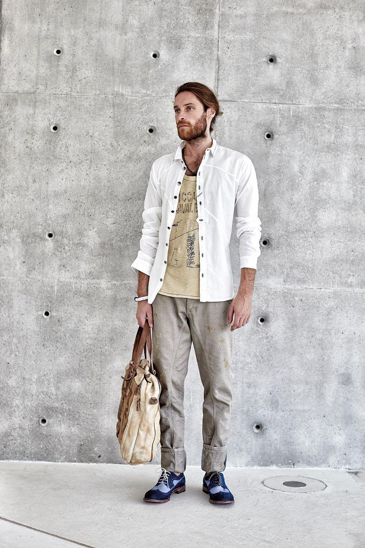 #danieladallavalle #mancollection #riccardocavaletti #ss16 #shirt #white #tshirt #beige #print #grey #pants #blue #shoes #handbag #bracelets #leather #necklaces