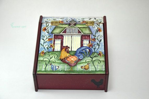 """Welcome to Woody Gift! We offer only UNIQUE HANDMADE ITEMS!  Charming Wooden Tea Box """"Mister Rooster"""". Will give warm and comfortable atmosphere to"""
