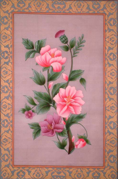 """Mughal Flower"" ~ Water Color On Silk (with real gold work)."