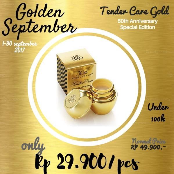 Produk Special ulang tahun oriflame ke 50! Tender care gold! Hanya Rp29.900/pcs september 2017 ini.  balm multifungsi melembabkan bibir, siku atau tumit.   WA 081232201988