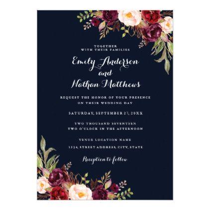 Memorial service invitation template black white style funeral navy burgundy floral fall wedding invitation invitations custom unique diy personalize occasions stopboris Gallery