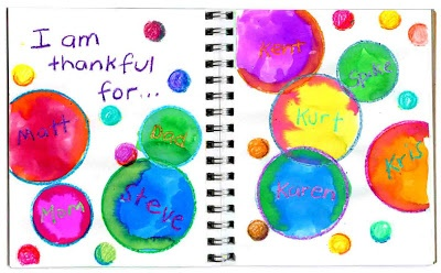 "Art Projects for Kids: ""Thankful"" Bubbles Art Journal Page gratitude Thanksgiving"