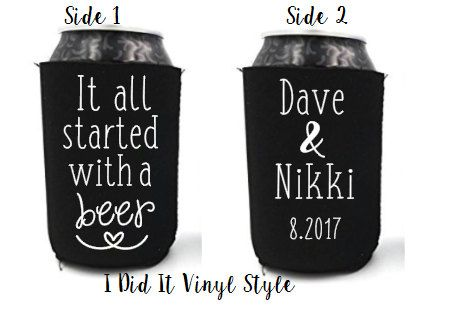 It all started with a beer. Wedding Favors by IDidItVinylStyle