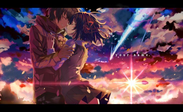 Anime Your Name.  Kimi No Na Wa. Mitsuha Miyamizu Taki Tachibana Fond d'écran