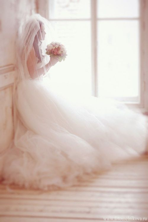 A frothy pink wedding dress of pale Pink. I love the idea, but a wedding dress for my perfume. non..........