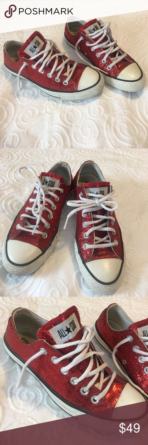 Converse Chuck Taylor All Star Red Glitter Shoes Converse Chuck Taylor All Star Red Glitter Shoes. Men's sizing is 5 (women's is 7) which is how they are listed here. Almost new condition very clean. Super cute shoes❤️ Converse Shoes