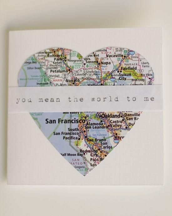 """You mean the world to me"" thru a heart shaped piece of map. Great idea, personalize with wherever the map focuses on!* 1500 free paper dolls at Arielle Gabriels The International Paper Doll Society also at The China Adventures of Arielle Gabriel free China paper dolls *"